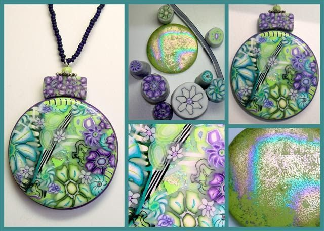 My millefiori pendant is made on a Lime Green base, I've chosen a complementary color scheme, one that uses any two colors that are opposite...