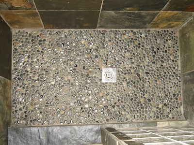 New Shower Floor Tiled With Ocean Pebbles