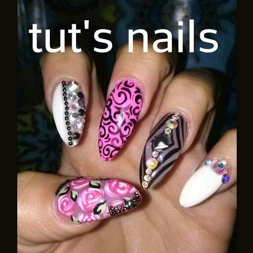 Stiletto nails pink white and black set