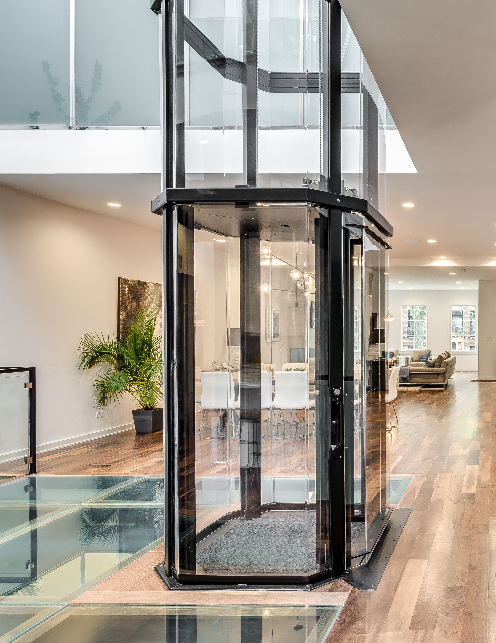 Narrow Row Home With Vuelift Octagonal Cab View Glass Elevator