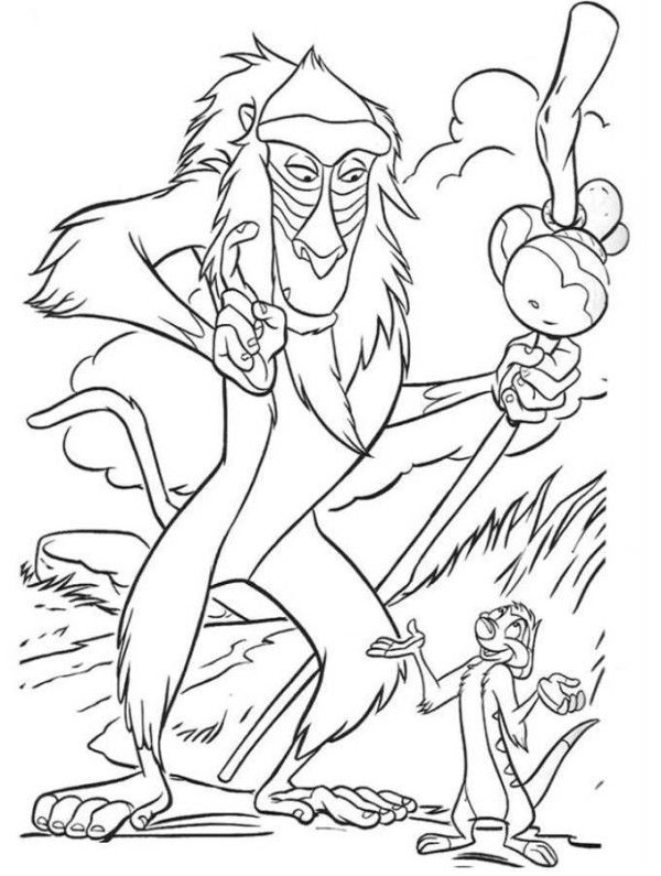 Rafiki And Timon The Lion King Coloring Page Coloring Pages