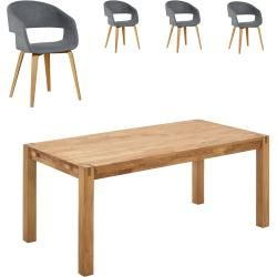 Photo of Dining table Royal Oak / Holstebro (140×90, 4 chairs, anthracite) Danish bed storage