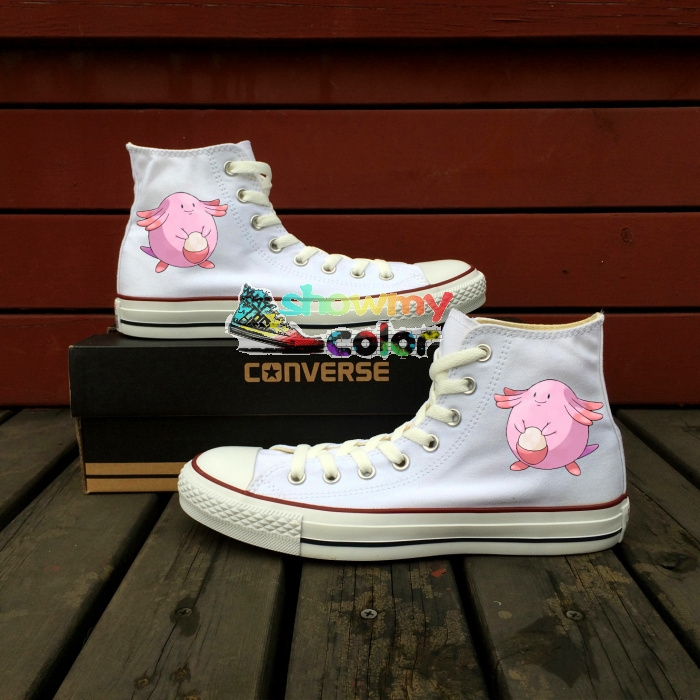 106.25$  Know more  - White Converse All Star Girls Boys Shoes Pokemon Chansey Egg Design Hand Painted Sneakers High Top Skateboarding Shoes Man Woman