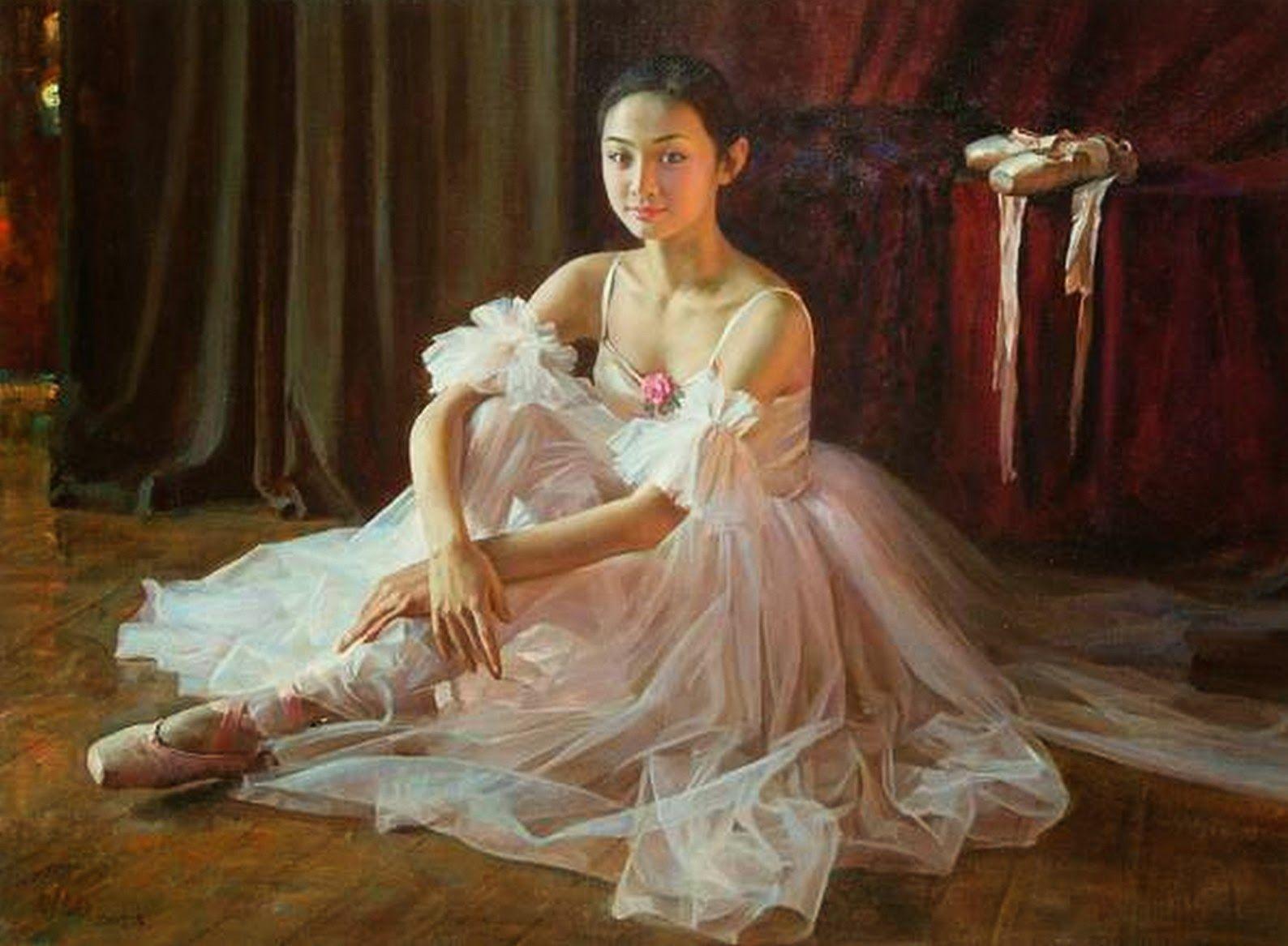 Cuadros infantiles bailarinas ballet pintura y - Cuadros bailarinas infantiles ...