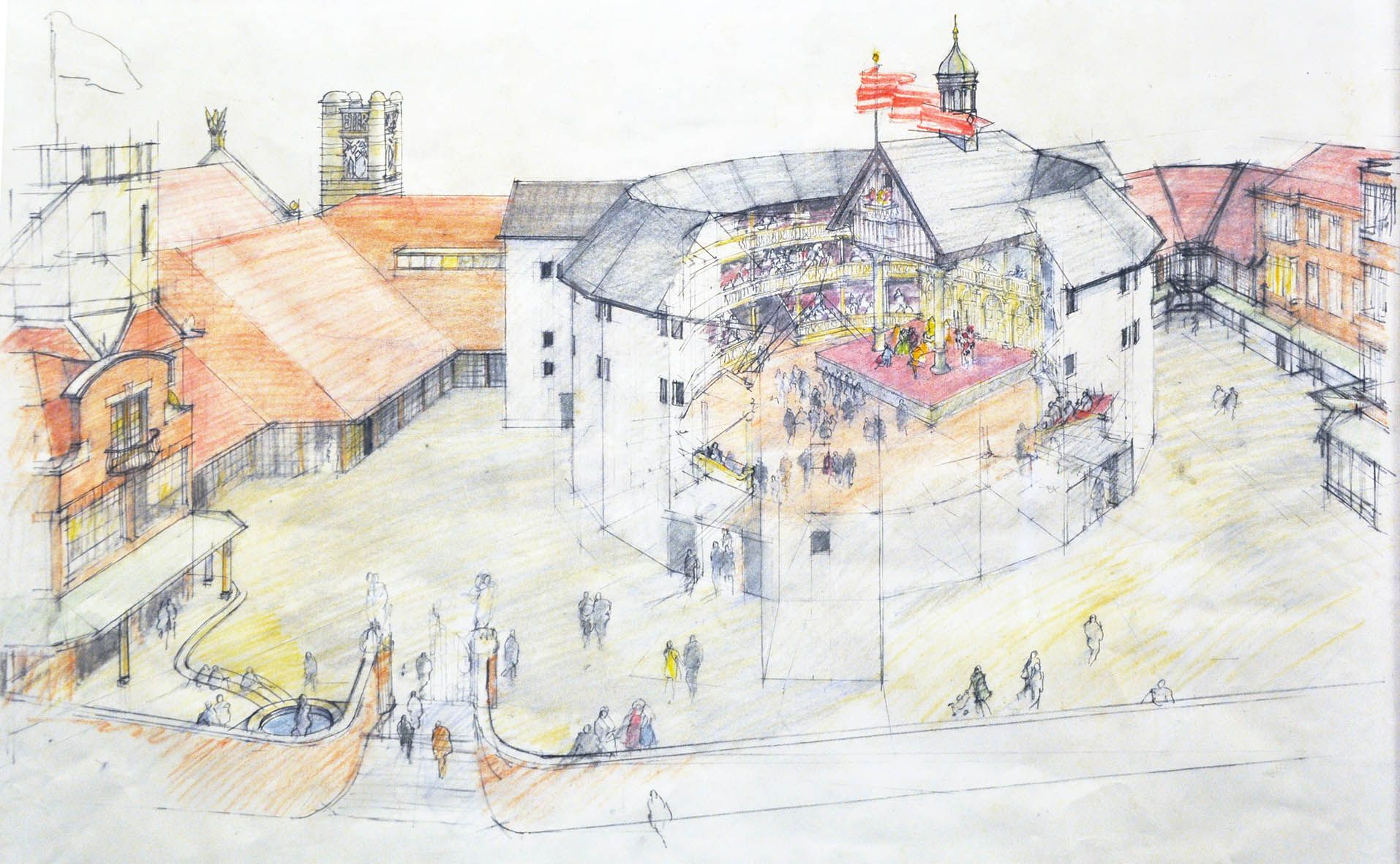 Cutaway Drawing Of The Globe Theatre By Dennis Bailey For