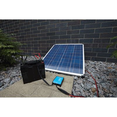 Npower Crystalline Solar Panel Kit With Stand Charge Controller And Inverter 80 Watts 12 Volt Crystalline Solar Pane Solar Panel Kits Solar Barn Lighting