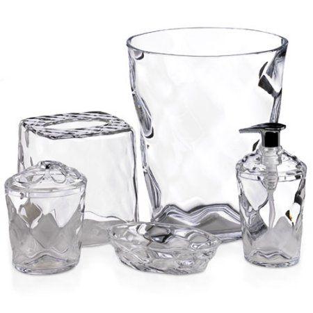 Glass Blocks 5 Piece Bath Accessory Set Clear Walmart Com