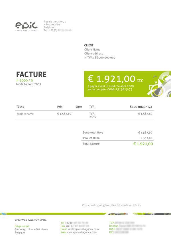 Design by Epic Web Agency Invoice design Pinterest Invoice - paid in full receipt template