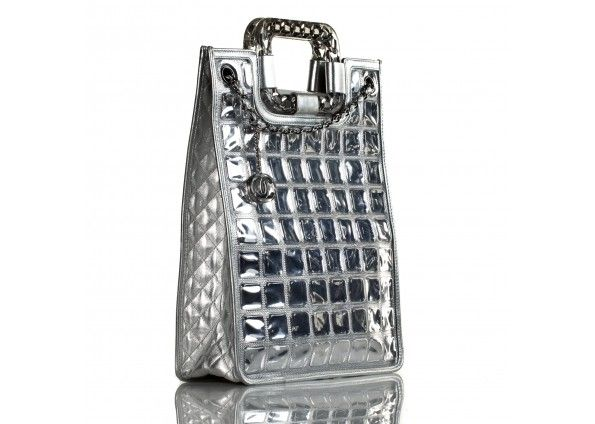 Chanel Silver Ice Cube Quilted Lambskin Tote Bag - Cruise Collection Limited Edition