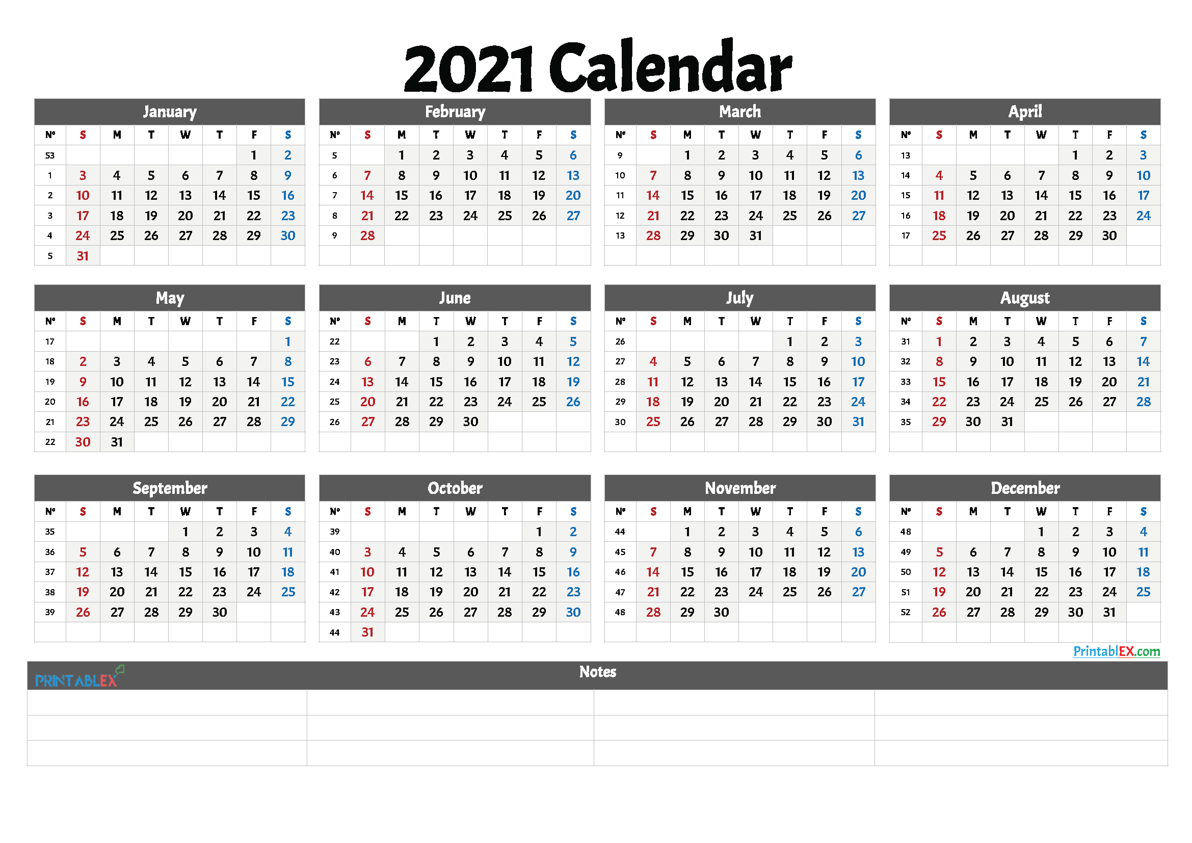 2021 Free Printable Yearly Calendar with Week Numbers | Printable