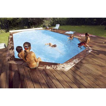 kit piscine hors sol bois odyssea 840x490x146 cm cerland en pin leroy merlin - Piscine Bois Leroy Merlin Hors Sol