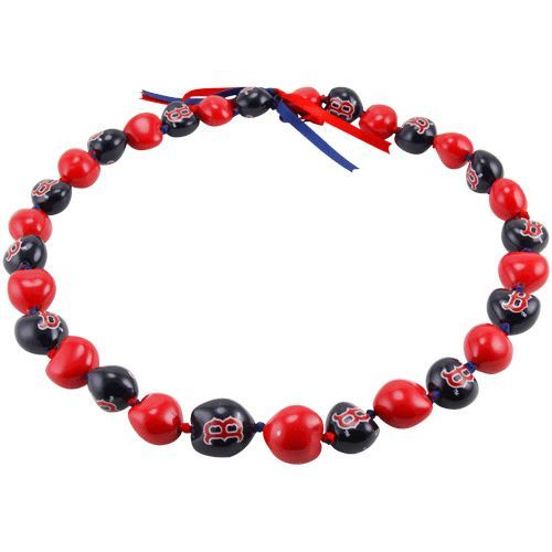 Boston Red Sox Kukui Nut Lei Necklace