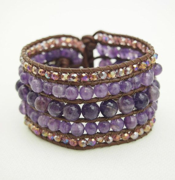 Cuff Bracelets - Amethyst and Crystal Cuff on brown leahter