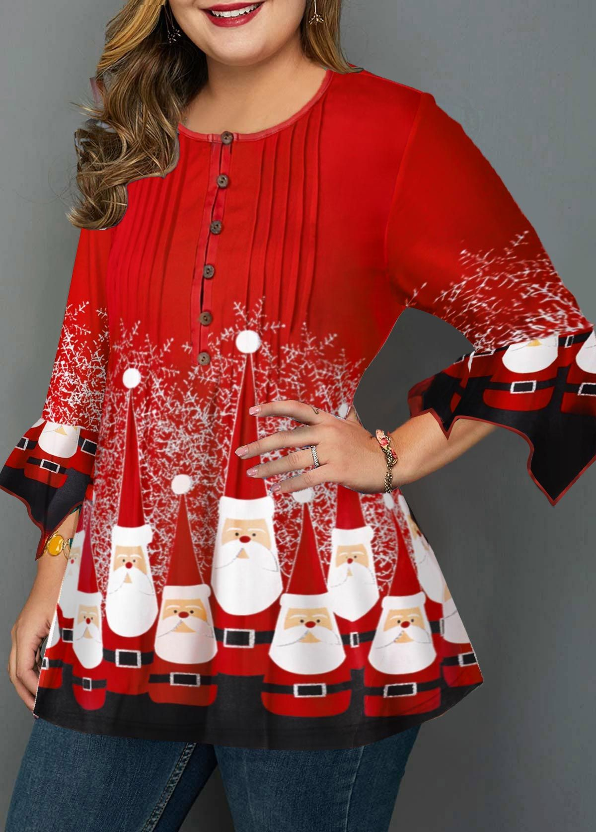 Crinkle Chest Plus Size Christmas Print Blouse linkshe.com ...