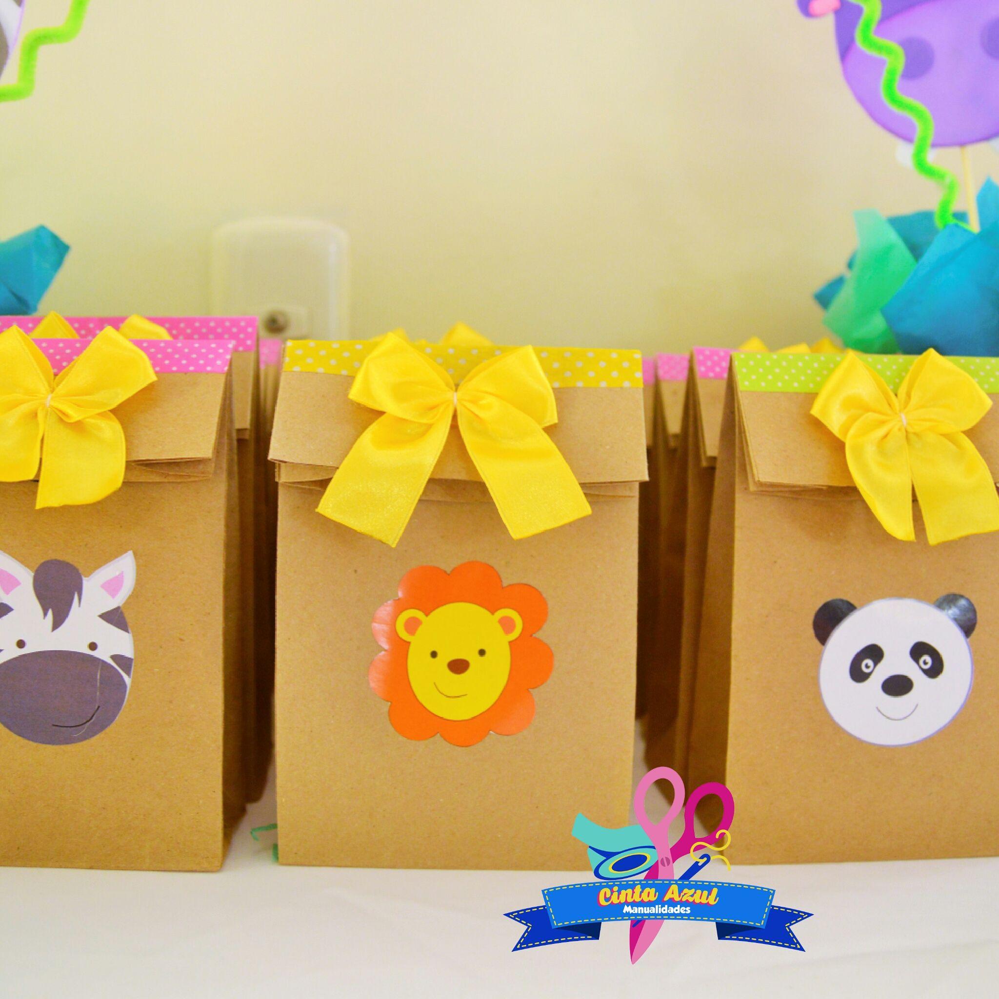 f7b1e118e Bolsas de papel kraft con temática safari | Ideas para fiestas ...