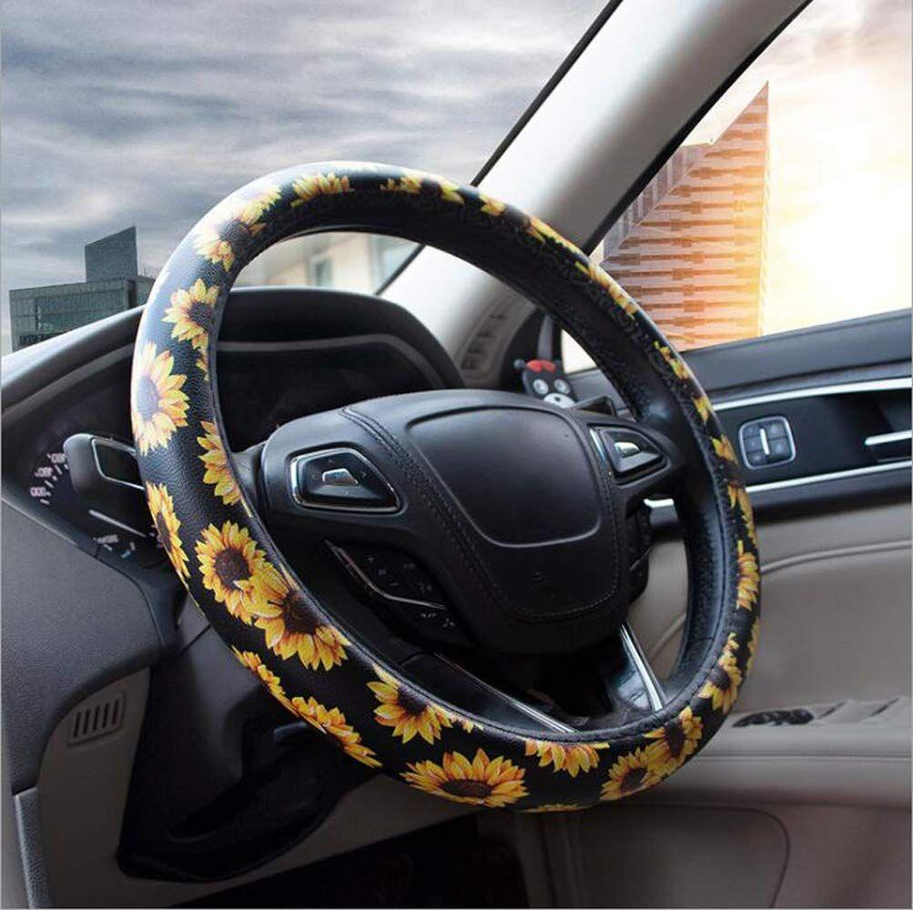 DC Microfiber Leather Auto Car Steering Wheel Cover Anti-slip Universal 15//38cm BLUE