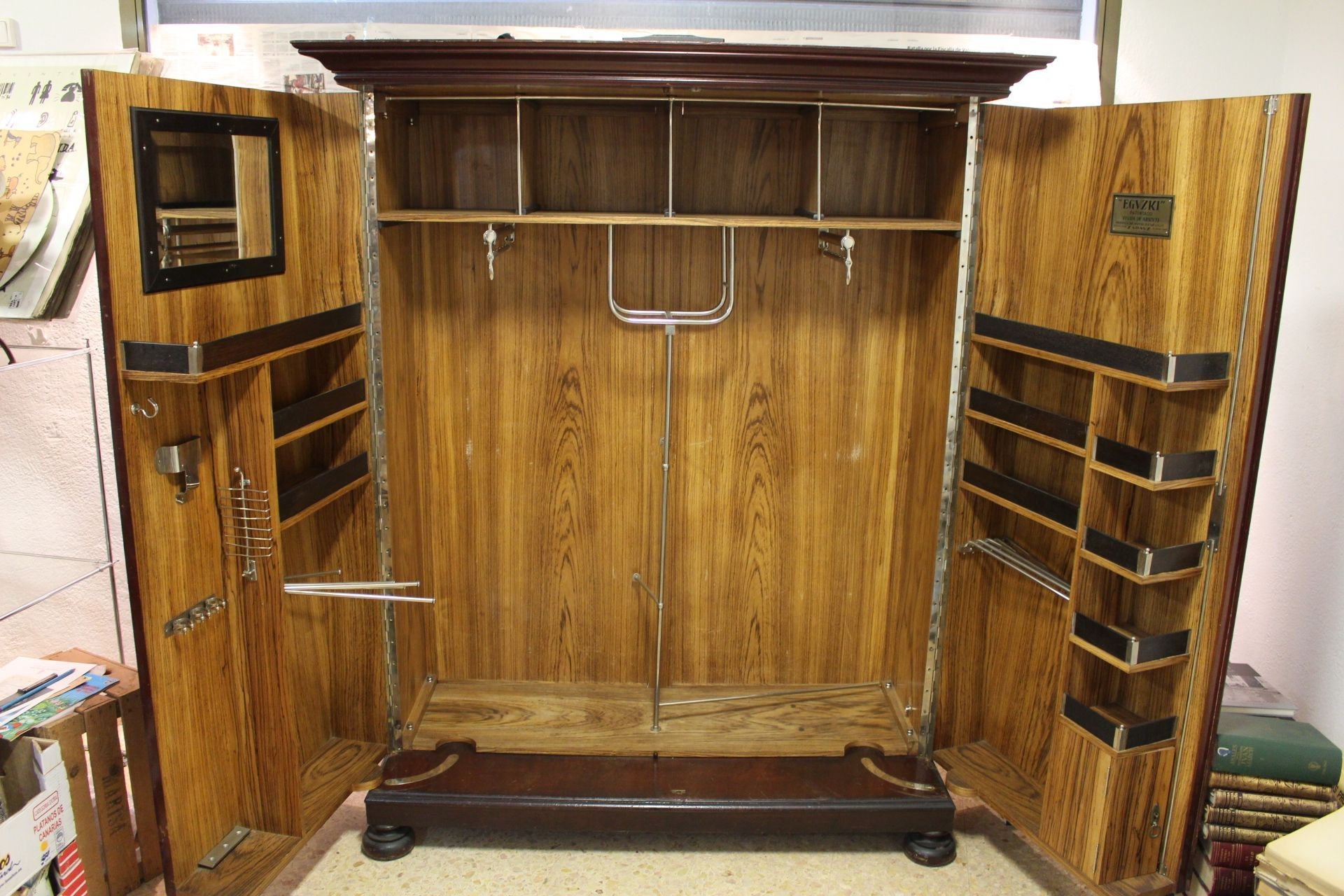 Antique art deco vintage luxury wardrobe armoire in walnut u zebra