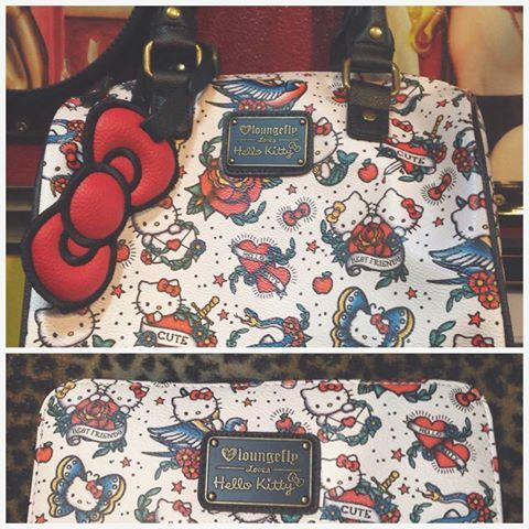 As a part of a much awaited set, this beautiful bag merges your favourite Hello Kitty designs with your love for tattoos in one sweet print.