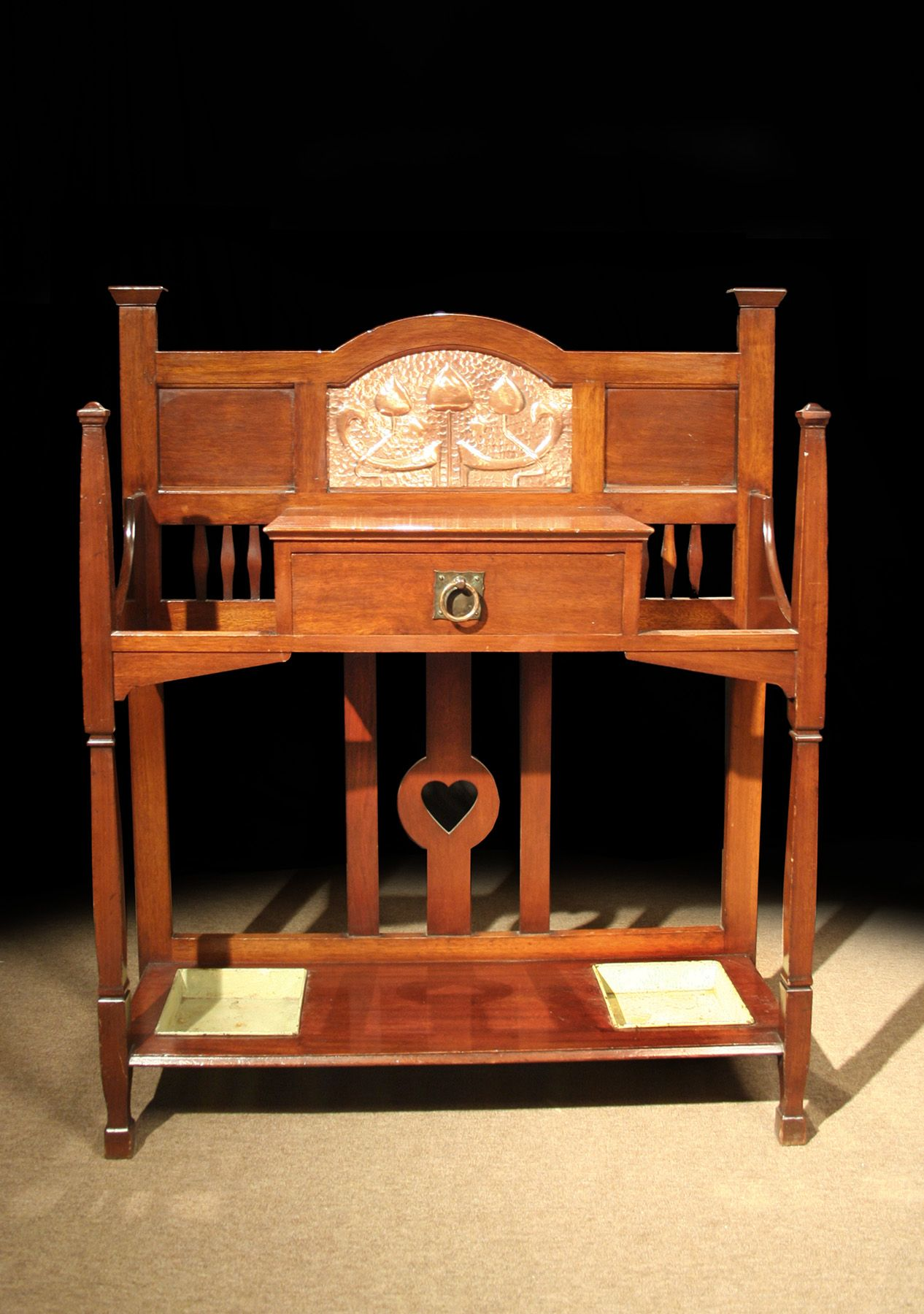 arts and crafts mahogany hall stand embellished with a chased rh pinterest com