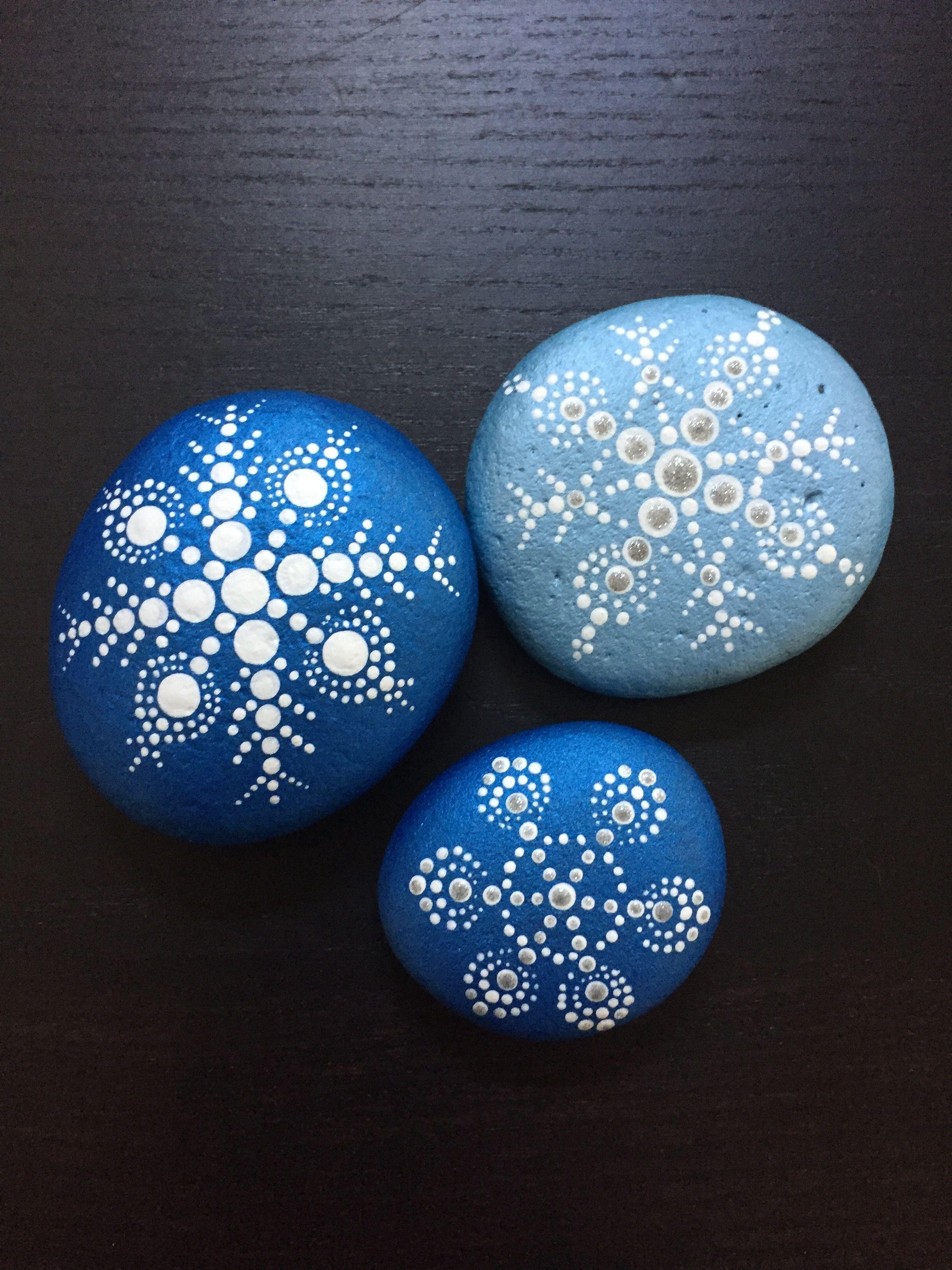 Snowflake Dance Mandala holiday christmas rockpainting paintedrock