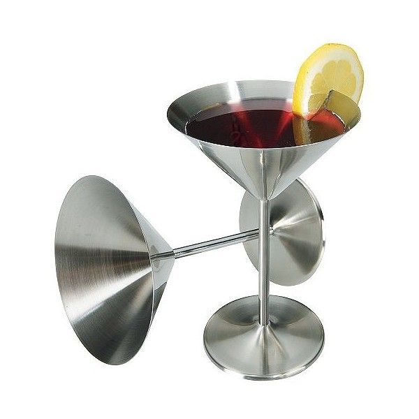 Stainless Steel Cocktail Glasses - Set of , Dark Silver (55 BRL) ❤ liked on Polyvore featuring home, kitchen & dining, drinks, dark silver and oggi