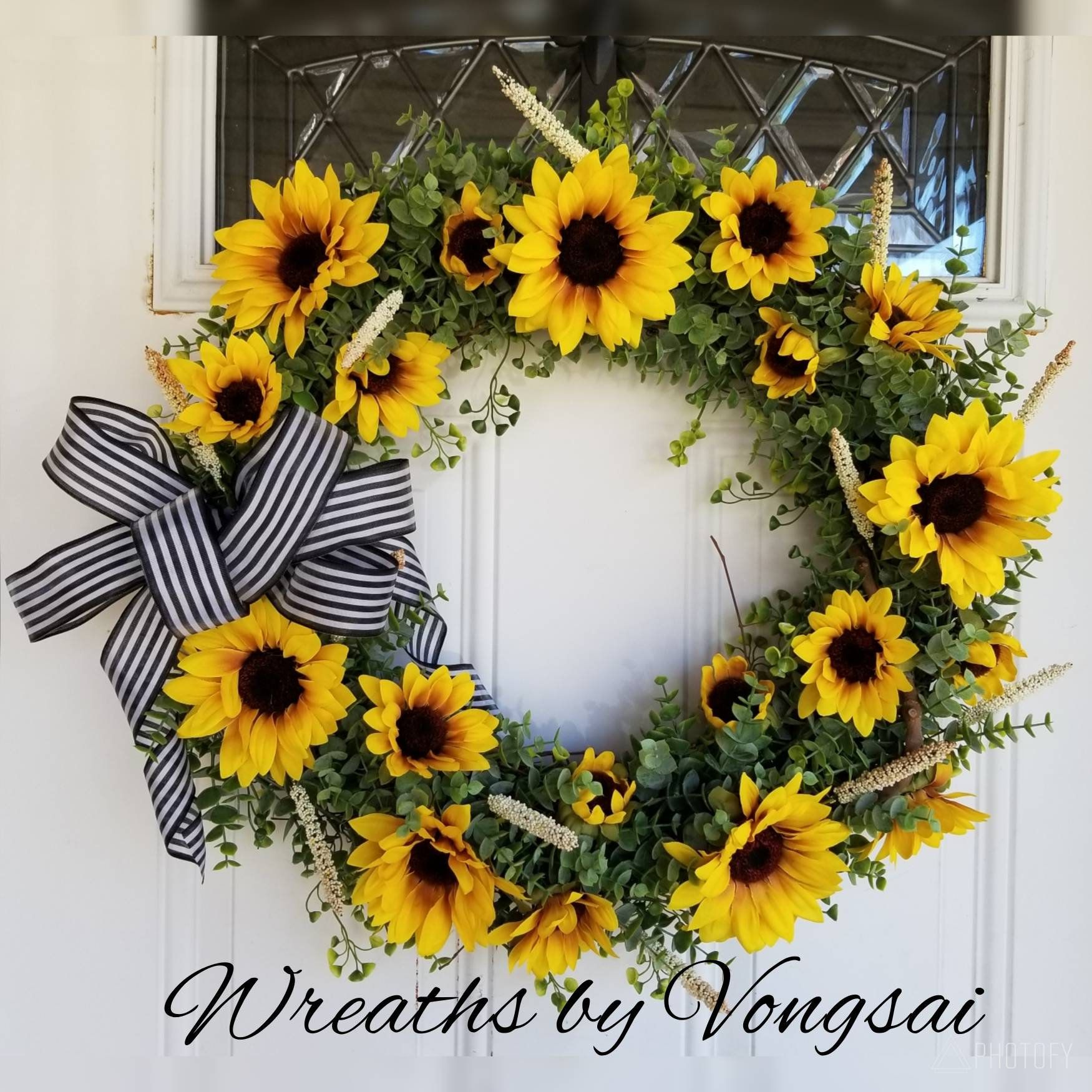 Photo of Items similar to Sunflowers & Eucalyptus Wreath on Etsy