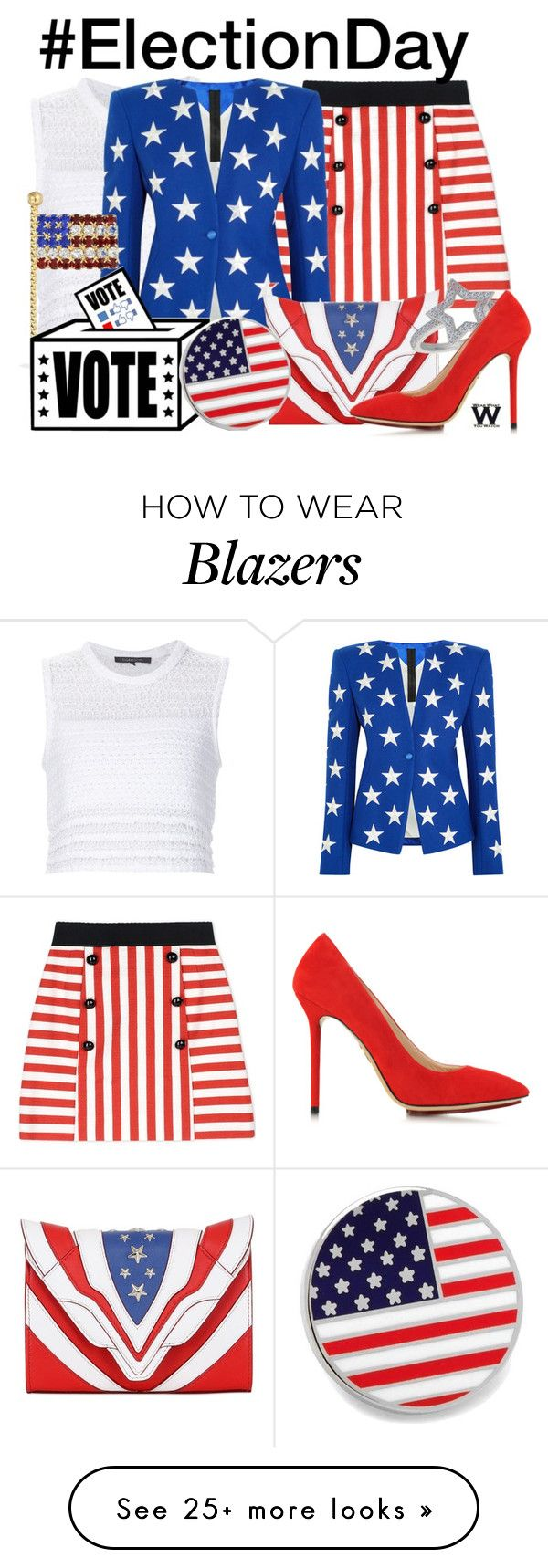 """""""#ElectionDay"""" by wearwhatyouwatch on Polyvore featuring Thakoon, Dolce&Gabbana, Gareth Pugh, Bling Jewelry, Elena Ghisellini, Charlotte Olympia and Cufflinks, Inc."""