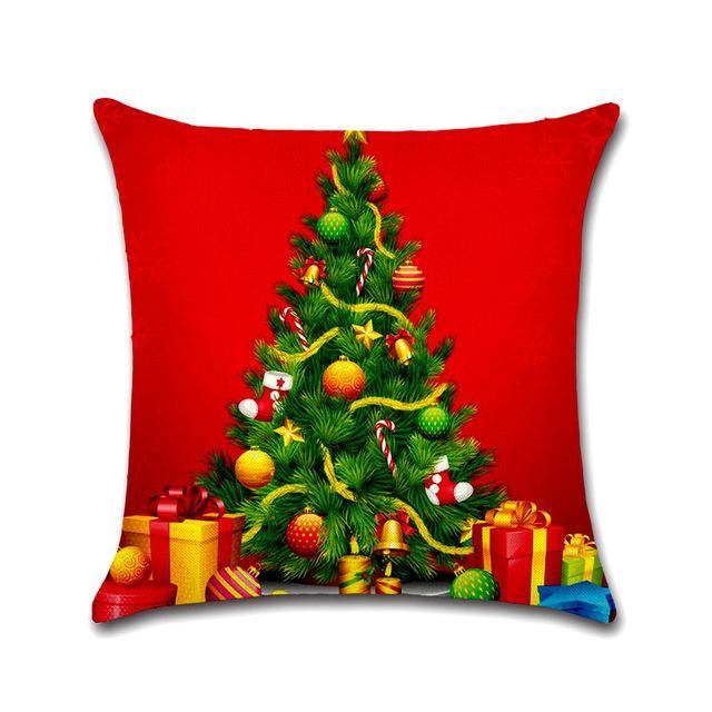 Tronzo Hot Christmas Decorations For Home 1pcs Reindeer Jute Pillow Cover Case Merry Christmas Square Linen Kerst Noel Pillows Decorative Diy