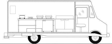 Crepe food truck left side elevation for my mobile cafe for Food truck blueprints