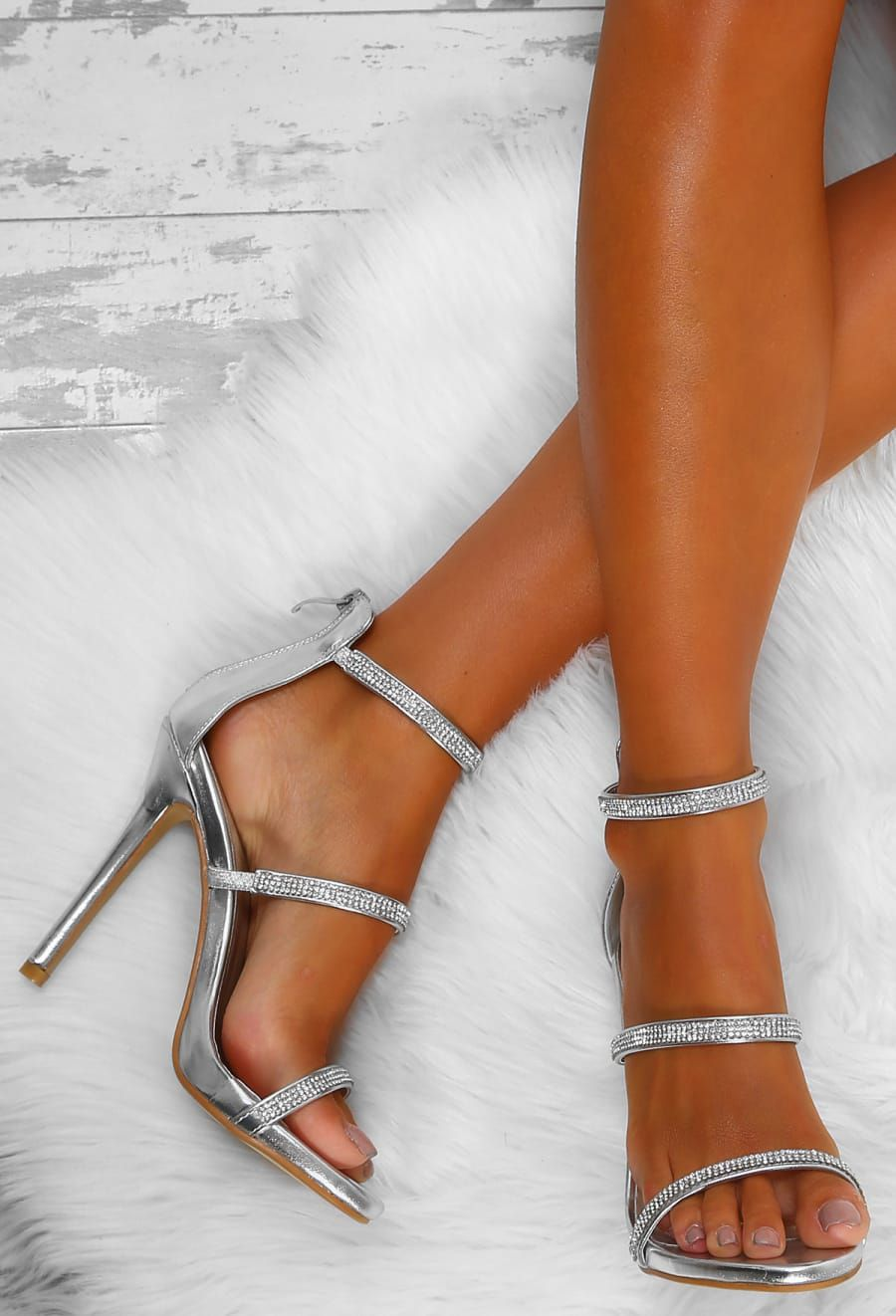 cd43a9e56be Deep Thoughts Silver Diamante Strap Stiletto Heels - UK 3 in 2019 ...