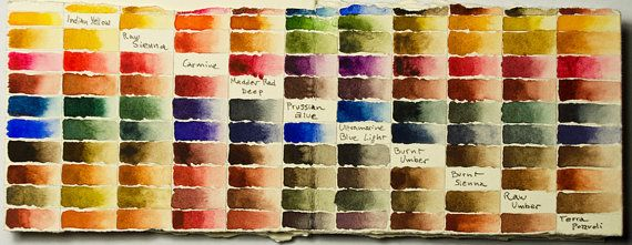 Handmade Watercolours Colour Chart by MatteoGrilliArt on Etsy