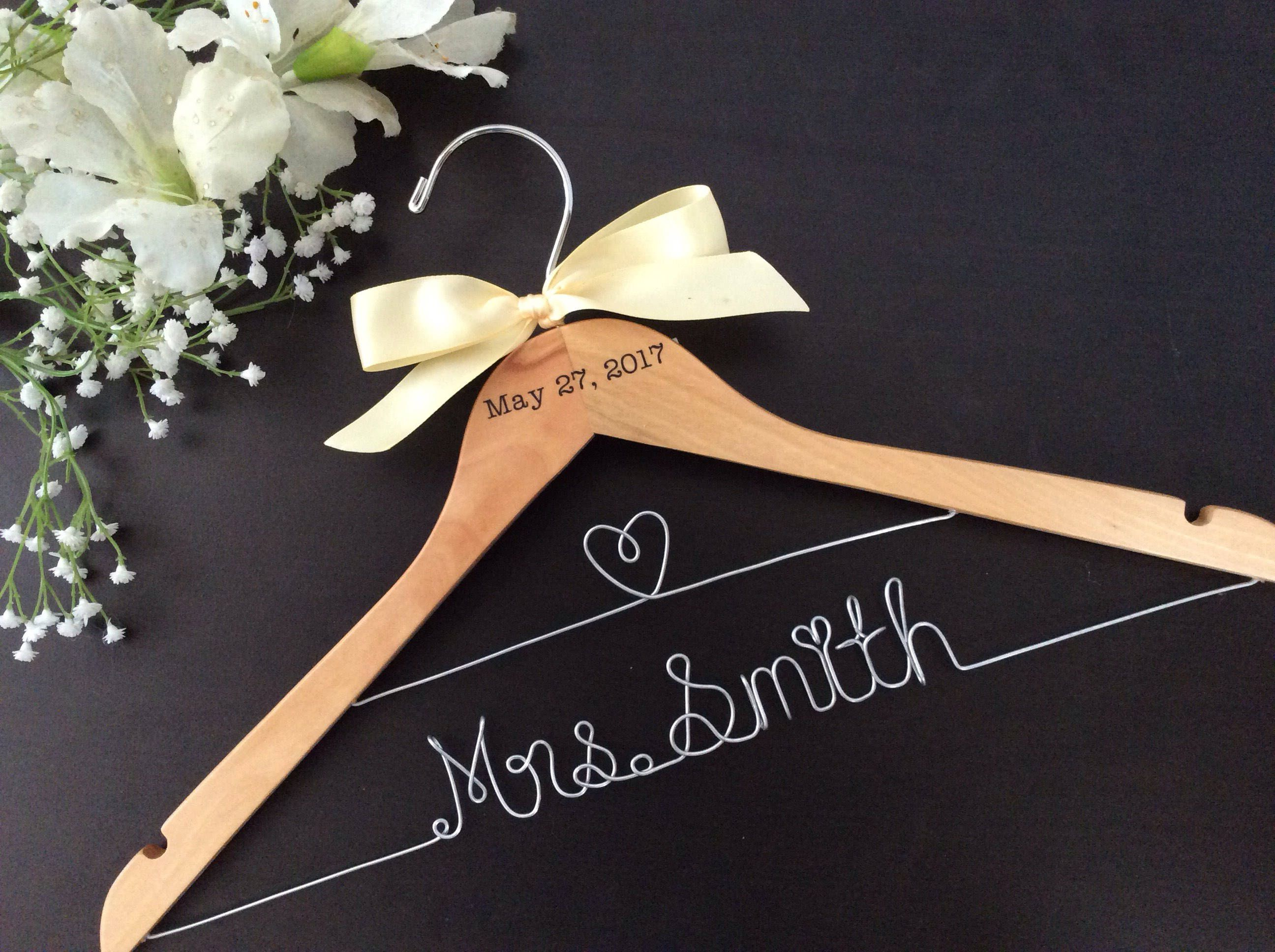 best bridal shower gifts for guests%0A CUSTOM Wedding Hanger with date  Bridal shower gifts  Bridal  Hanger Personalized Hanger