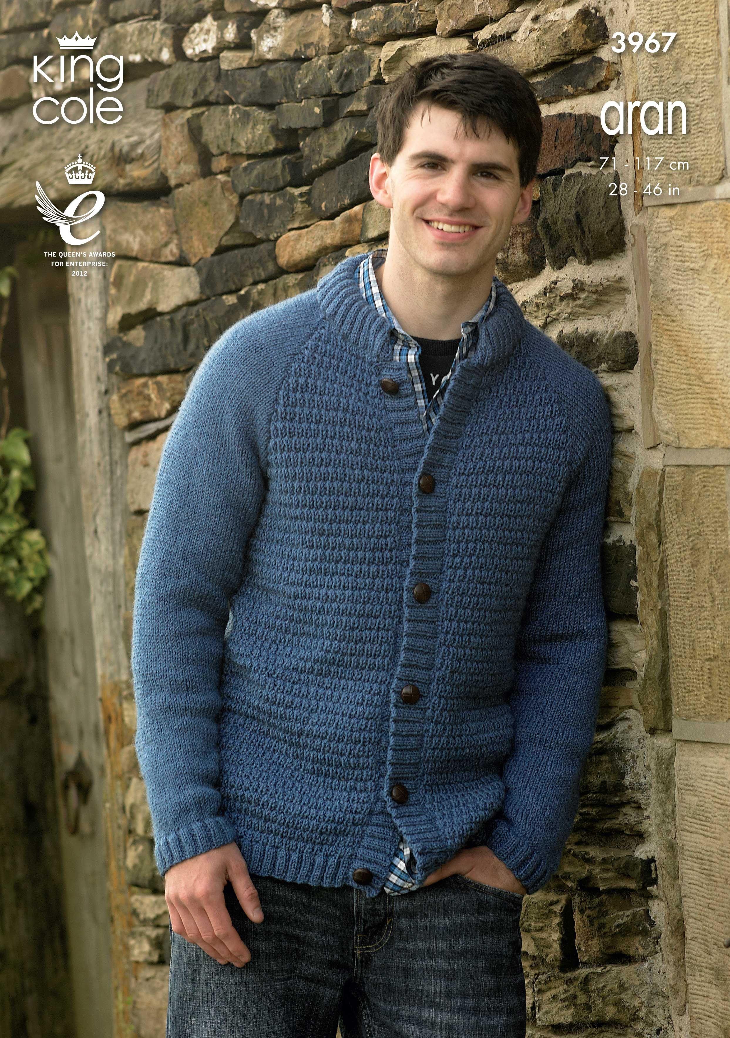 Mens aran cardigan - King Cole | Jacket pattern, Sweater ...
