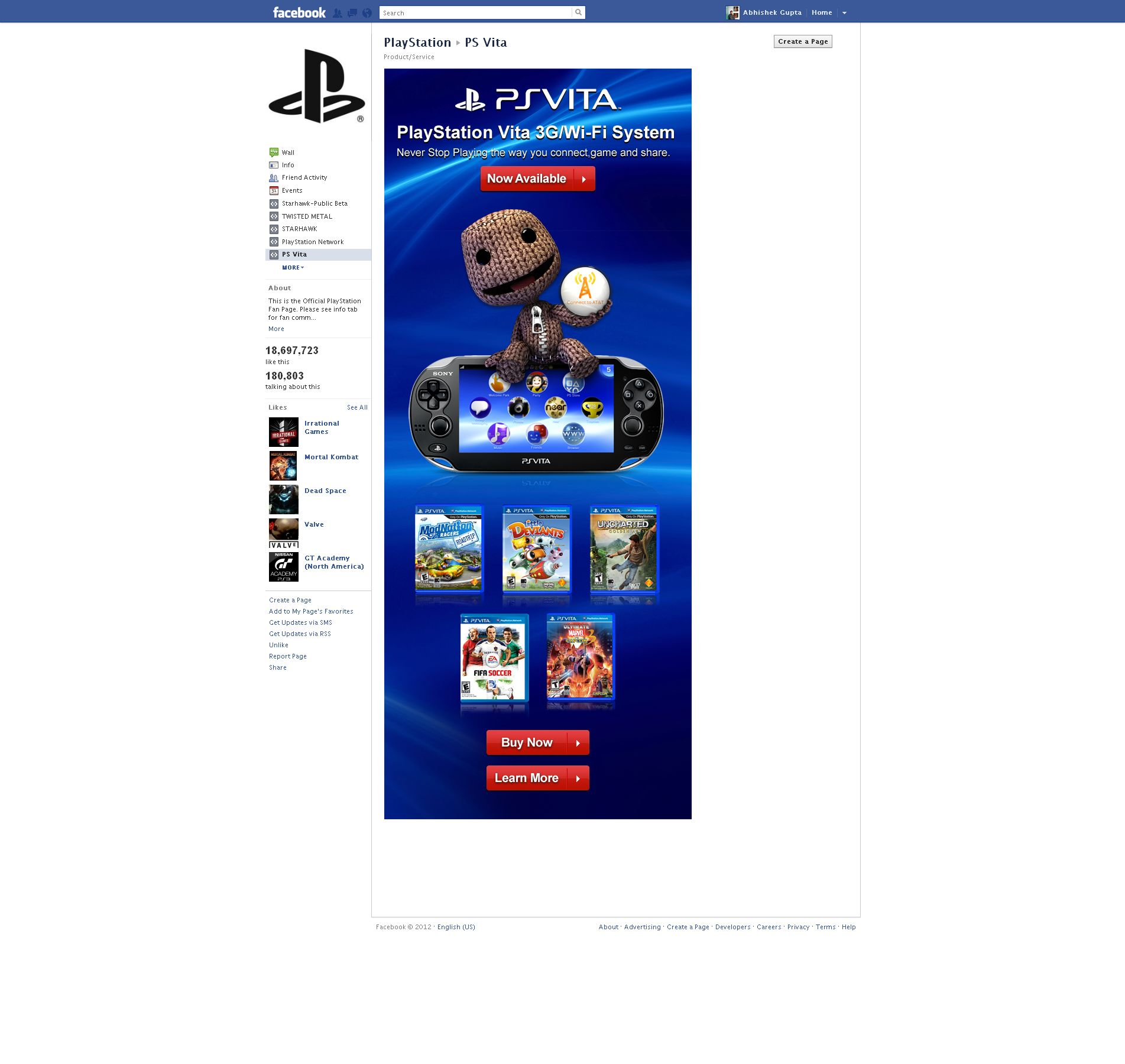 Sony Playstation Ps Vita Launch Facebook Page Design Mock 2 Ps Vita Playstation Sony Playstation