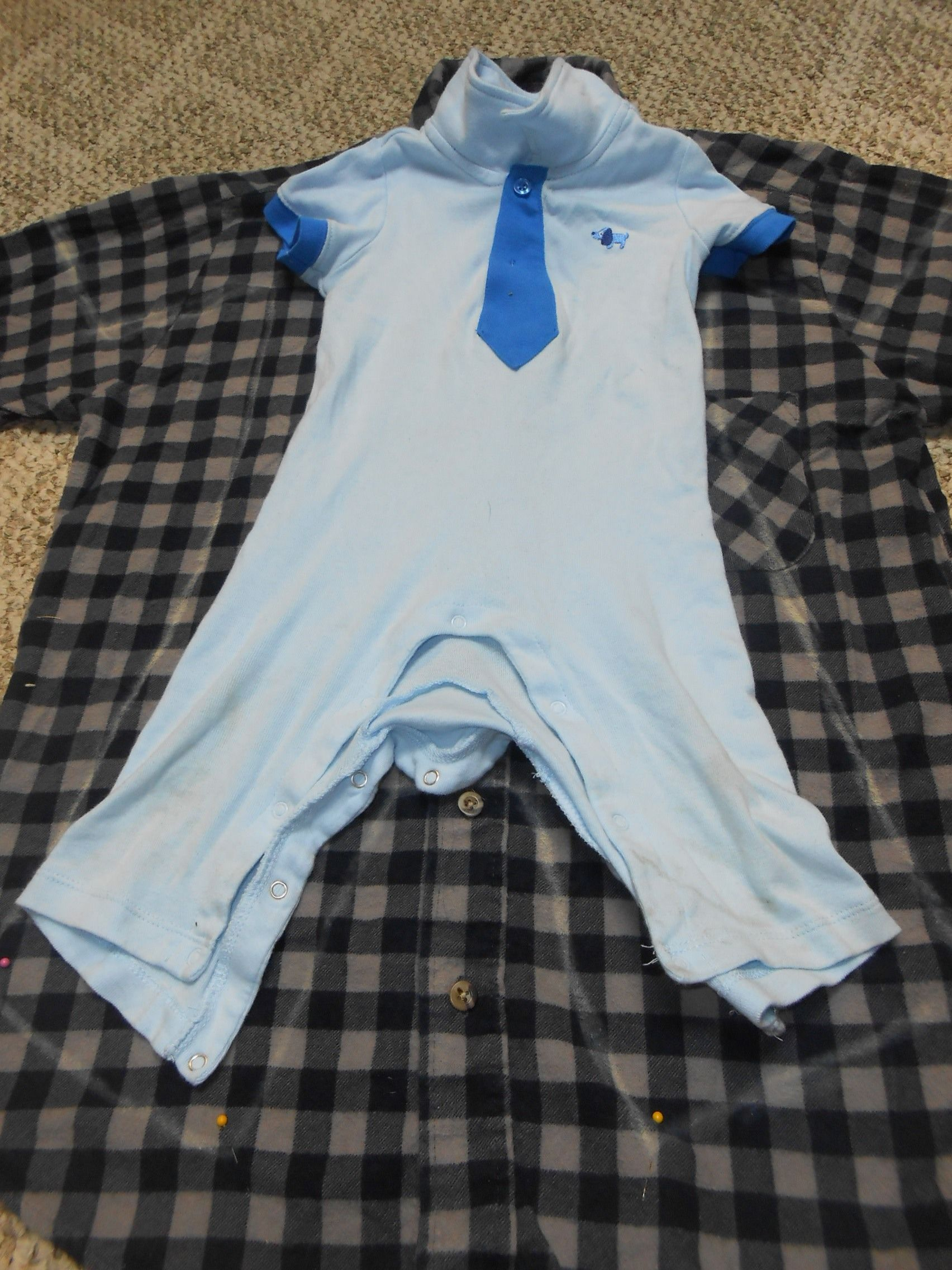Refashion Flannel Onesie from Man's Shirt