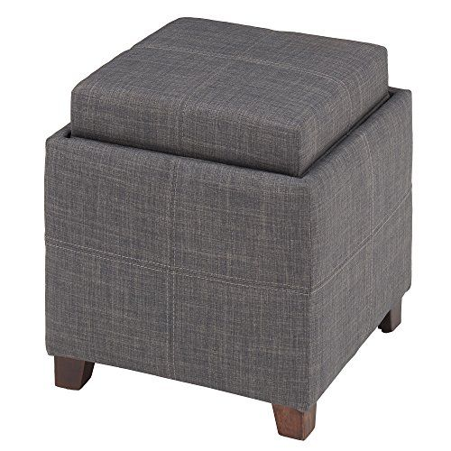 Superb Whi Fabric Storage Ottoman With Reversible Tray Grey Alphanode Cool Chair Designs And Ideas Alphanodeonline