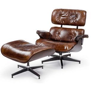 Elegant Grimes Leather Chair And Ottoman Set Wooden Shell With Hardwood Veneer And  Top Grain Brown Leather