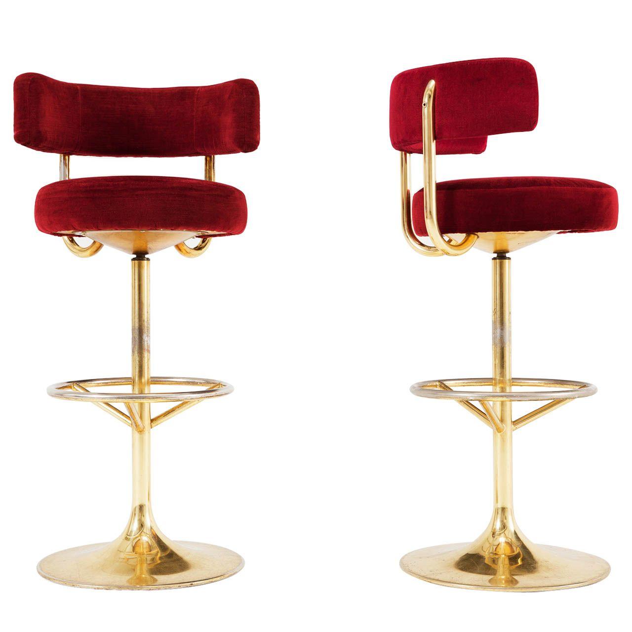 pair of brass and red velvet barstools things for my new home rh pinterest com