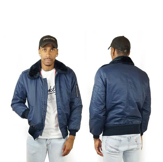 Dickies 90s Fur Collar Bomber Jacket Men S Vintage Puffer Bomber Jacket Navy Blue Bomber Jacket Bomber Jacket Men