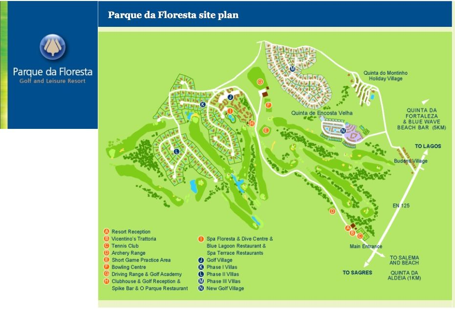 A Map Of The Resort Of Parque Da Floresta Near Budens And Salema - Portugal golf map