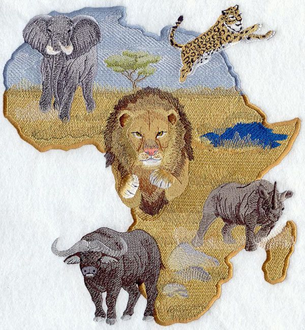Africa's famous big 5. Animal embroidery designs