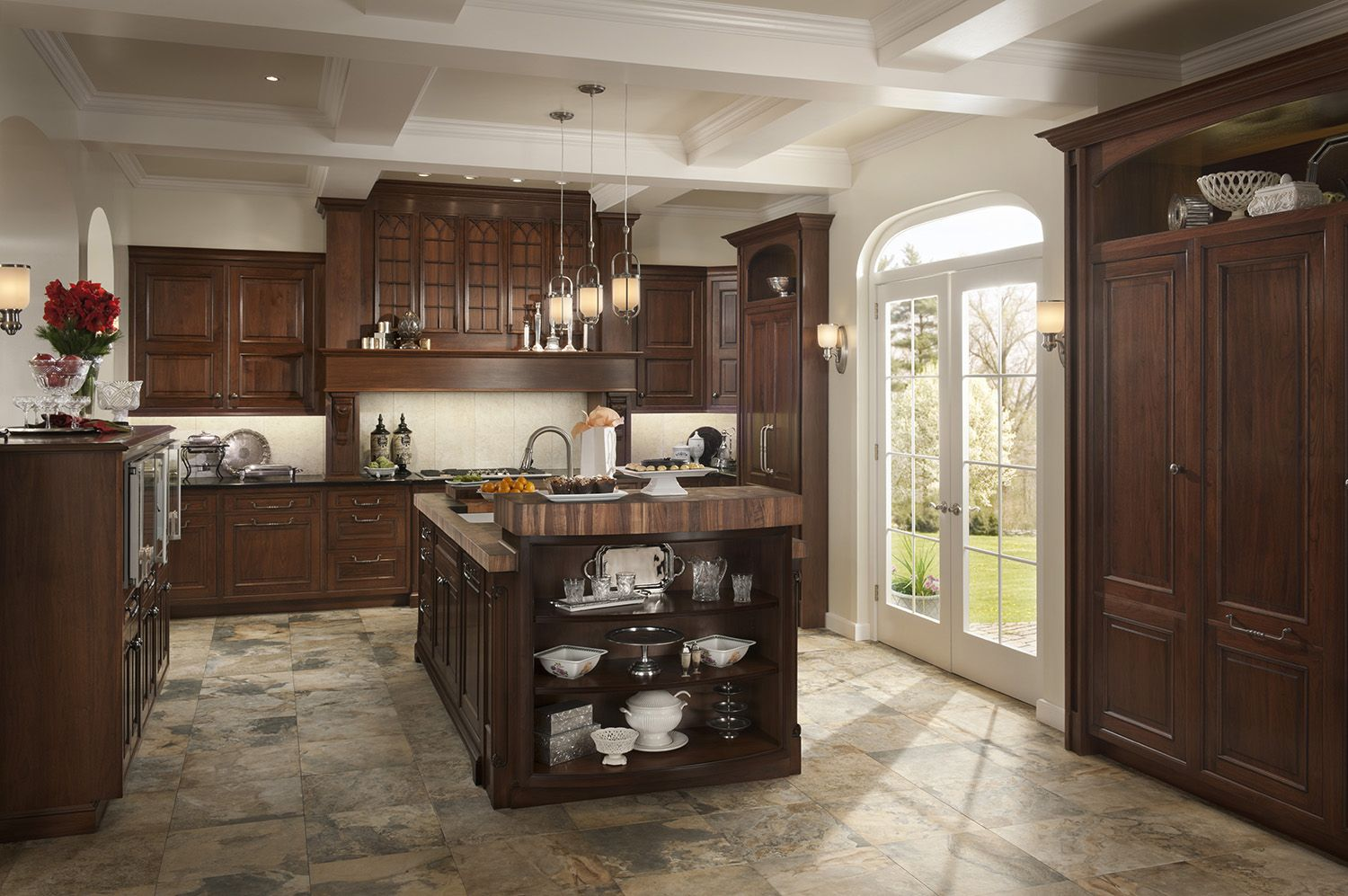 Elegant Traditions Kitchen By Woodmode Shown In Sable And Wall Street Finishes On Walnut Wood Mode Kitchen Traditional Kitchen
