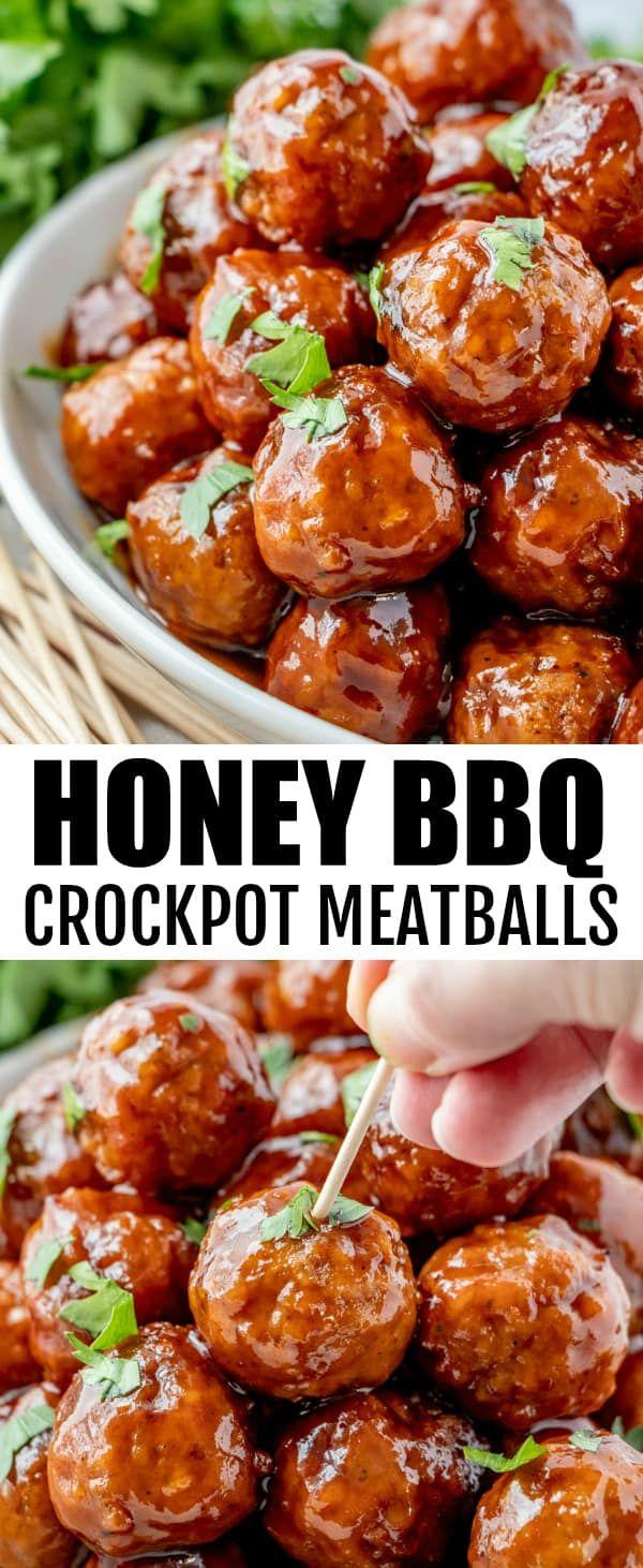 Honey BBQ Crockpot Meatballs #appetizersforparty