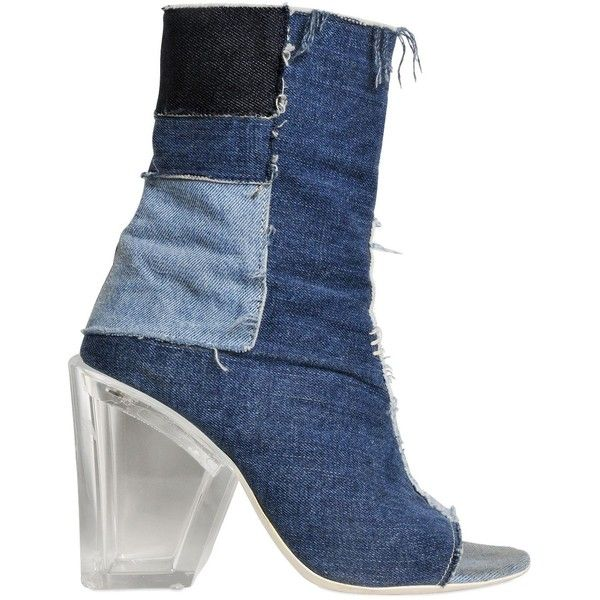 9edd978239ae Off White Women Patchwork Denim Open Toe Ankle Boots ( 520) ❤ liked on  Polyvore
