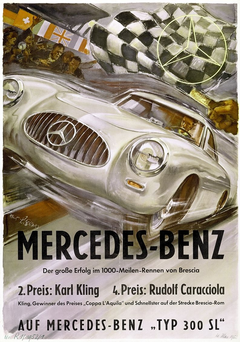 Vintage Mexican Mercedes Benz 300sl Advertising Poster  A3 Print
