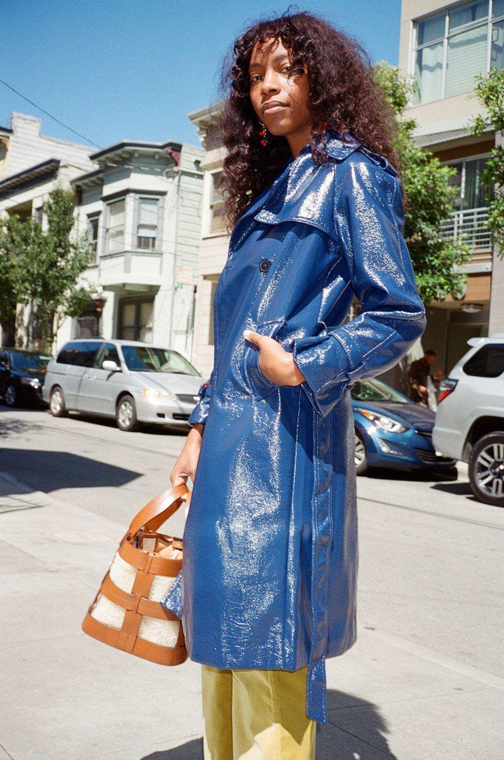 Jane Trench Coat Navy Vinyl Vinyl Jacket Navyblue Fashion Trench Coat Style