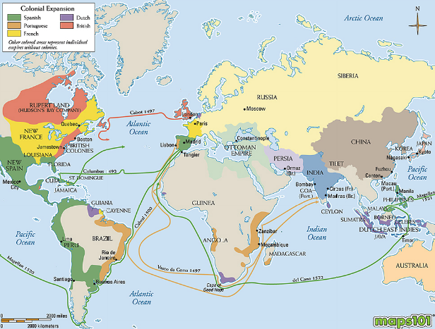 Map of Explorations 14001600  World History  Pinterest  History