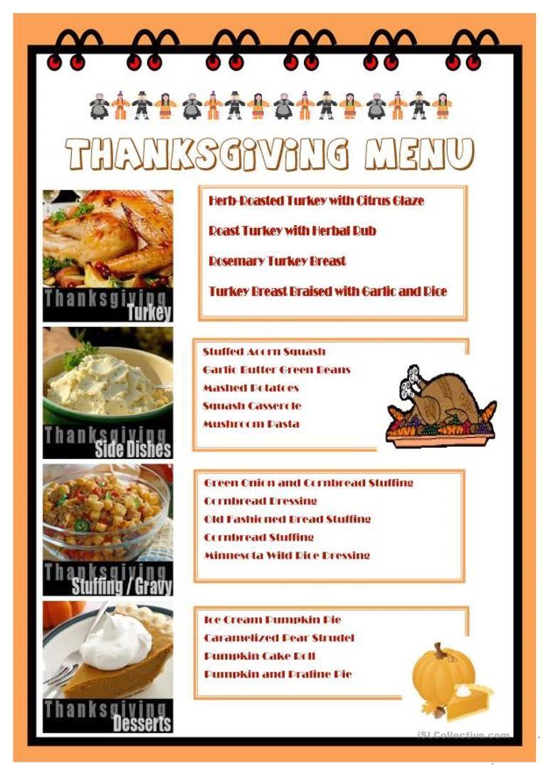 Thanksgiving menu worksheet free esl printable worksheets made by thanksgiving menu worksheet free esl printable worksheets made by teachers forumfinder Images