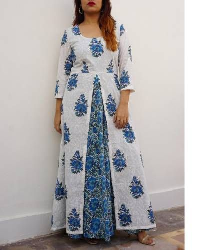 84b6974f31190 Blue Maxi With White Block Printed Tunic