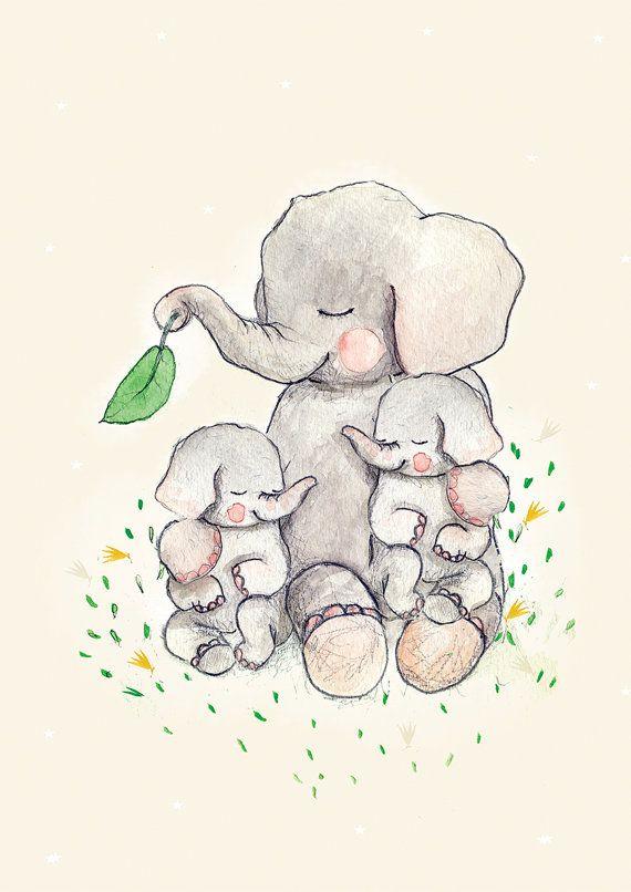 Photo of Zwillinge Mütter lieben, Mutter und Baby Krankenschwester, Kinderzimmer Wandkunst, Kinderzimmer Nimals Drucke, Kinderzimmer Elefant, Baby Dusche Mädchen, Kinderzimmer Zwillinge